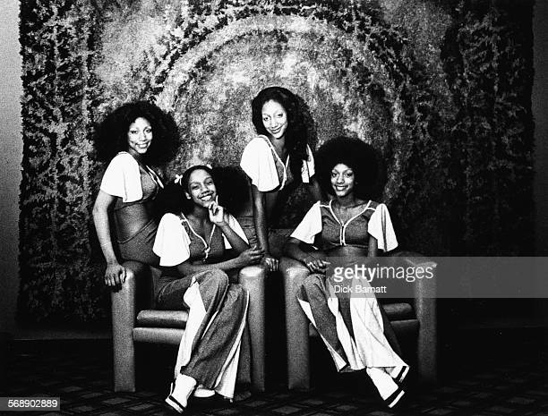 Portrait of music group 'Sister Sledge' wearing matching outfits circa 1977