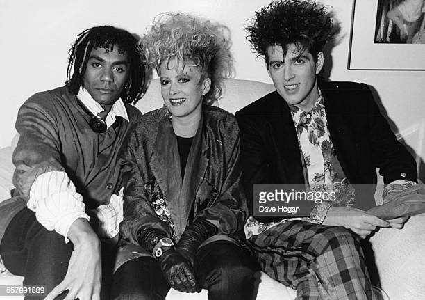 Portrait of music group 'Thompson Twins' Joe Leeway Alannah Currie and Tom Bailey June 25th 1985