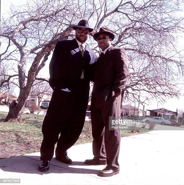 Portrait of music producers Jimmy Jam and Terry Lewis as they pose outdoors Chicago Illinois October 2 1996