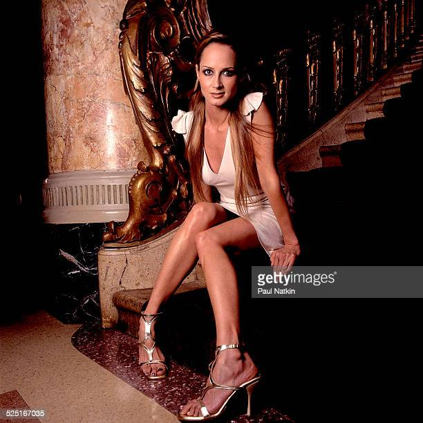 Portrait of musician Chely Wright as she poses at the Rialto Square Theater Joliet Illinois August 7 2001