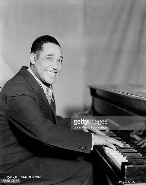 Portrait of musician Duke Ellington playing the piano for Paramount Pictures 1933