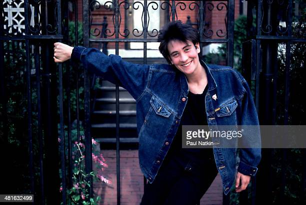Portrait of musician KD Lang as she poses outdoors Chicago Illinois November 27 1992