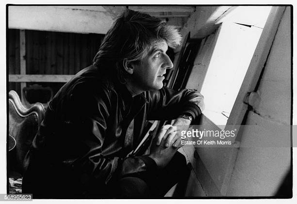 Portrait of musician Nick Lowe looking out of a window 1989