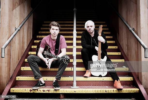 Portrait of musicians Alex Robertshaw and Jonathan Higgs guitarists with rock group Everything Everything photographed before a live performance at...