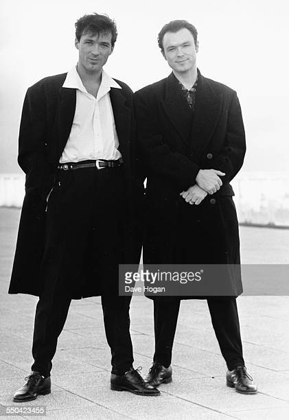 Portrait of musicians and brothers Martin Kemp and Gary Kemp who play the notorious Kray Brothers in the film 'The Krays' February 14th 1990