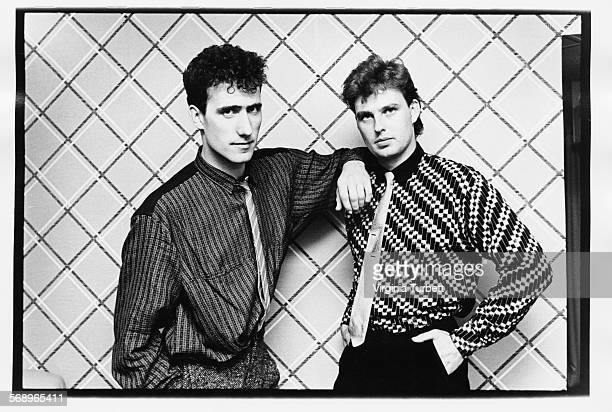 Portrait of musicians Andy McCluskey and Paul Humphreys of the band 'Orchestral Manoeuvres in the Dark' Manchester September 28th 1984