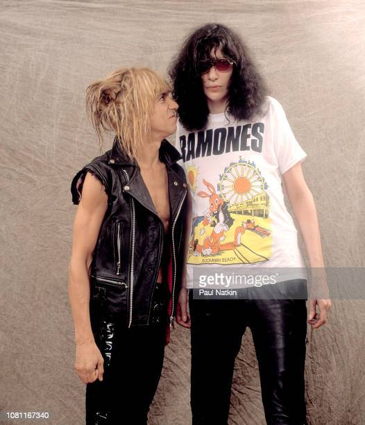 Portrait of musicians Iggy Pop, left, and Joey Ramone at the Aragon Ballroom in Chicago, Ilinois, October 3, 1988.