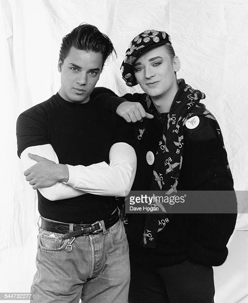 Portrait of musicians Nick Kamen and Boy George of the band 'Culture Club' March 27th 1987