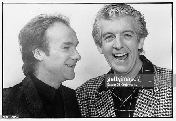 Portrait of musicians Paul Carrack and Nick Lowe circa 1981