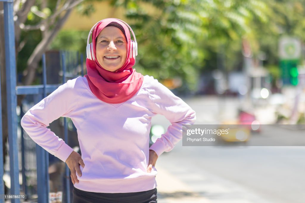 Portrait of muslim confident runner : Stock Photo