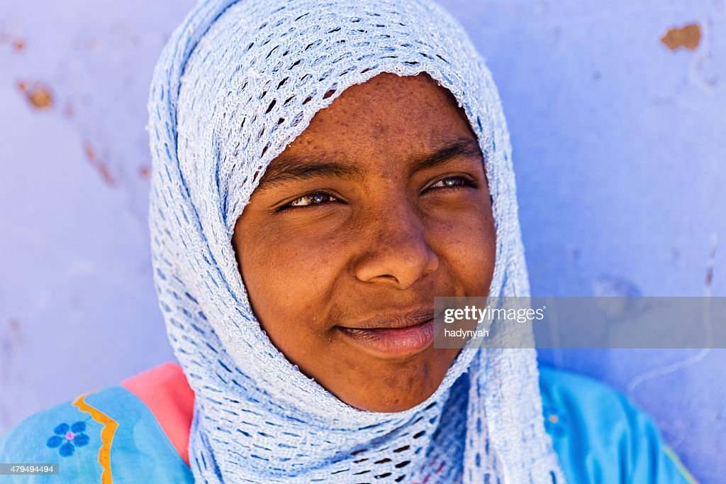 Portrait of Muslim girl in Southern Egypt : Stock Photo