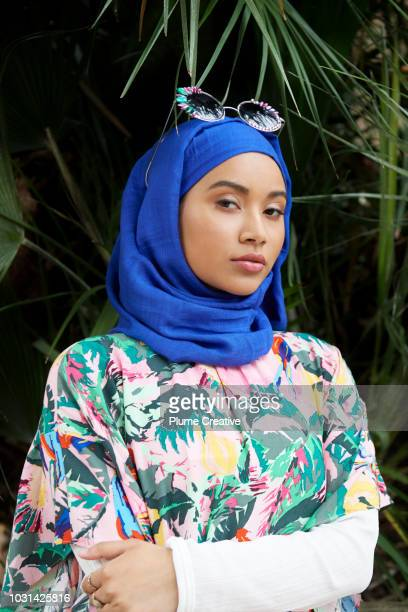 Portrait of Muslim woman in colourful outift
