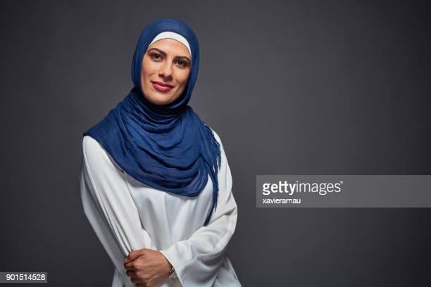 Portrait of muslim woman in studio