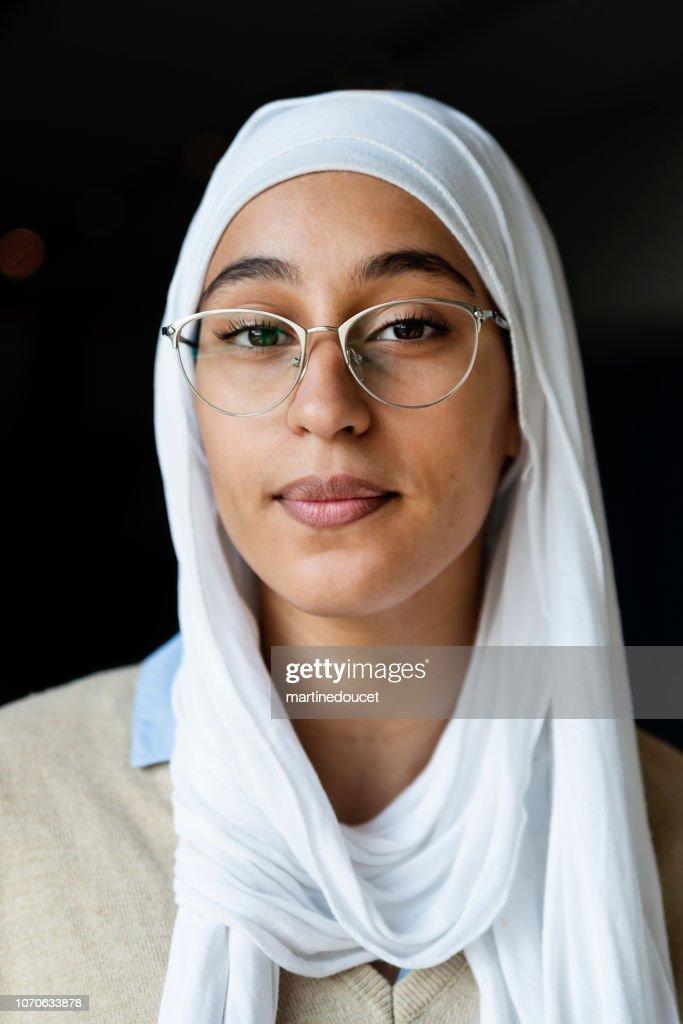 Portrait of muslim young woman wearing hijab. : Stock Photo