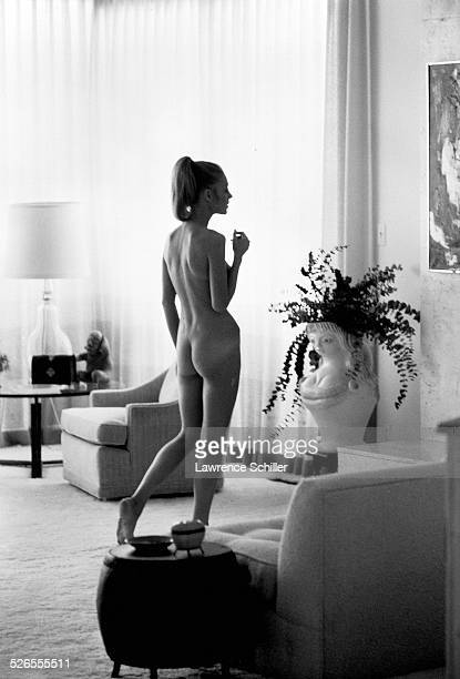 Portrait of naked British actress Joanna Pettet during a photo shoot for the Playboy magazine Rome Italy 1968