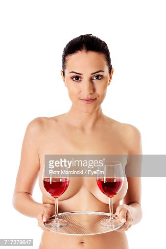 Portrait Of Naked Woman Holding Glass Ball Stock Photo