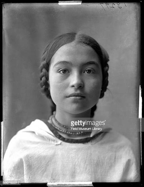 Portrait of Nancy Columbia a young Native American girl from Alaska who was born at the 1893 World's Columbian Exposition in Chicago at the Louisiana...