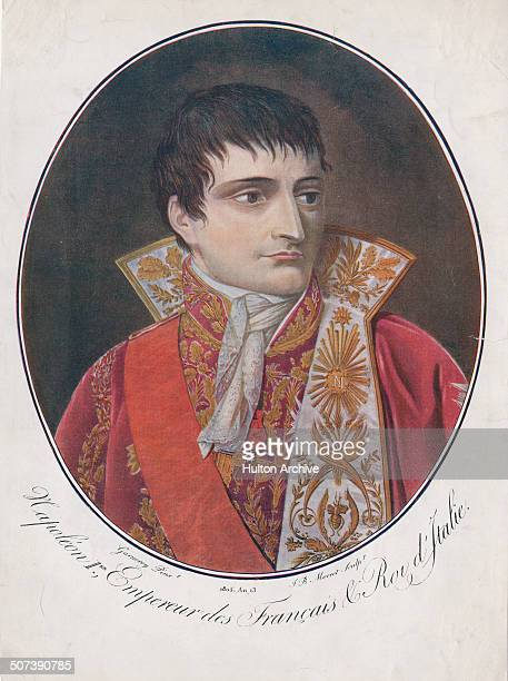 A portrait of Napoleon Bonaparte as Emperor Napoleon 1 of France on 1 June 1805 in Paris France An engraving by Garnerey after a painting by JB Morret