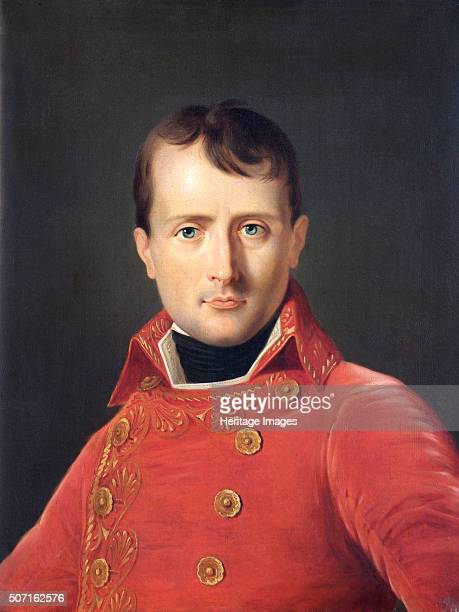 Portrait of Napoleon Bonaparte c1803 Napoleon aged about 35 wearing the double breasted gold embroidered scarlet uniform of the First Consul From the...