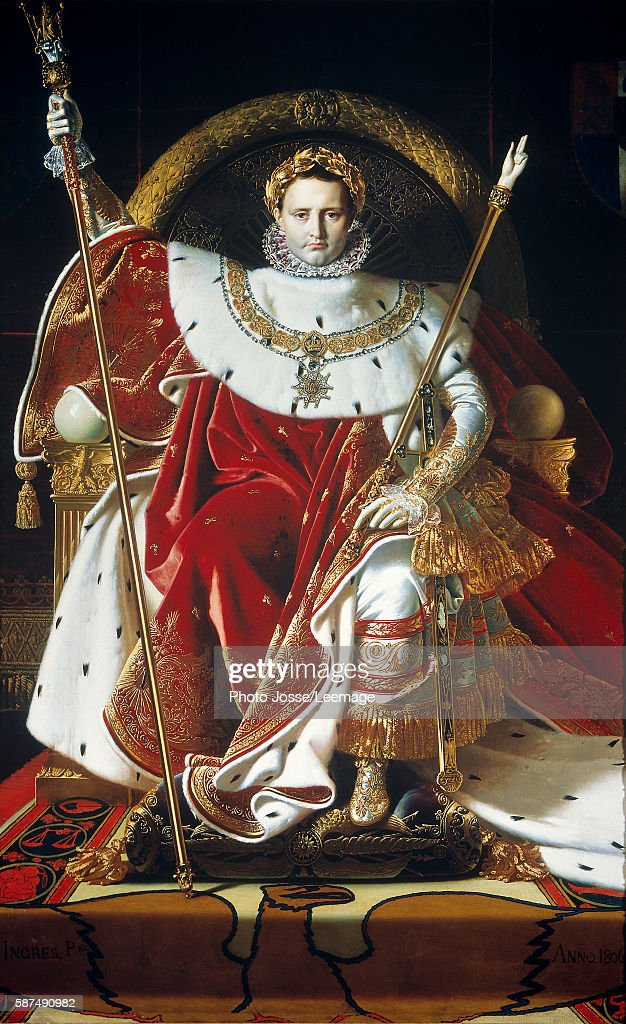 Portrait of Napoleon I Bonaparte on the imperial throne in coronation... Photo d'actualité ...