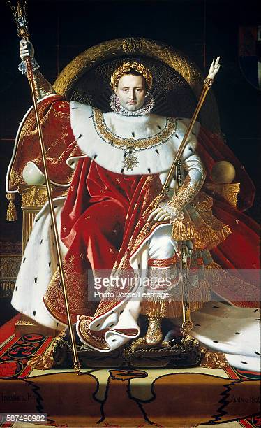 Portrait of Napoleon I Bonaparte on the imperial throne in coronation dress Painting by Jean Auguste Dominique Ingres oil on canvas 1806 Musee de...