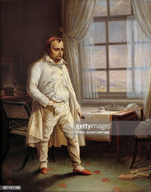 Portrait of Napoleon I on St Helena dictating his Memoires in a room at Longwood House Painting by Charles Auguste Steuben 1820 062 x 051 m...