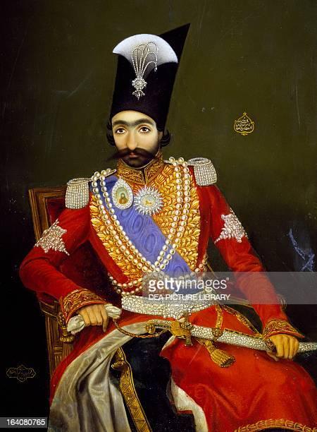 Portrait of Nasser alDin Shah Qajar the Shah of Persia Oil on copper by Bahram Kirmanshahmi 1857 Paris Musée Du Louvre