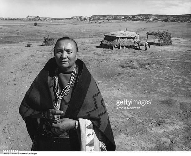 Portrait of Nartive American Navajo health and education activist Annie Dodge Wauneka as she poses outdoors near Window Rock Arizon September 19 1955