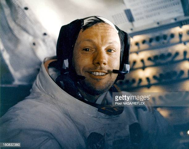 Portrait of Neil Armstrong in the Apollo 11 lunar module on the way back to Earth in July 1969