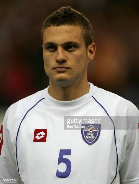 A portrait of Nemanja Vidic of Serbia Montenegro during the 2006 World Cup qualifying match between Spain and Serbia and Montenegro at the Estadio...