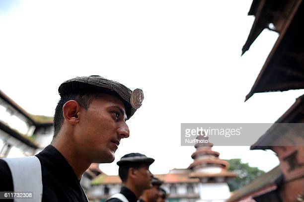 A Portrait of Nepalese Army Personnels of Gurujuko Paltan during the Gatasthapana first day of Biggest Hindu festival Dashain at Nasal Chowk...