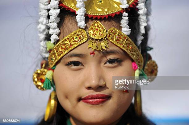 A Portrait of Nepalese Gurung community girl smiles in a traditional attire during the celebration of Tamu Lhosar or Losar at Kathmandu Nepal on...