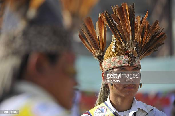A Portrait of Nepalese Gurung community youth in a traditional attire during the celebration of Tamu Lhosar or Losar at Kathmandu Nepal on Friday...