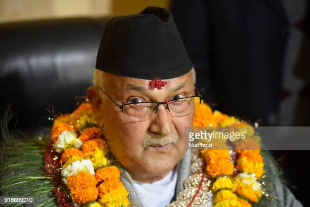 A Portrait of Nepal's newly elected Prime Minister KP Sharma Oli taking with the media personnels after signs on his first day in office of the Prime...