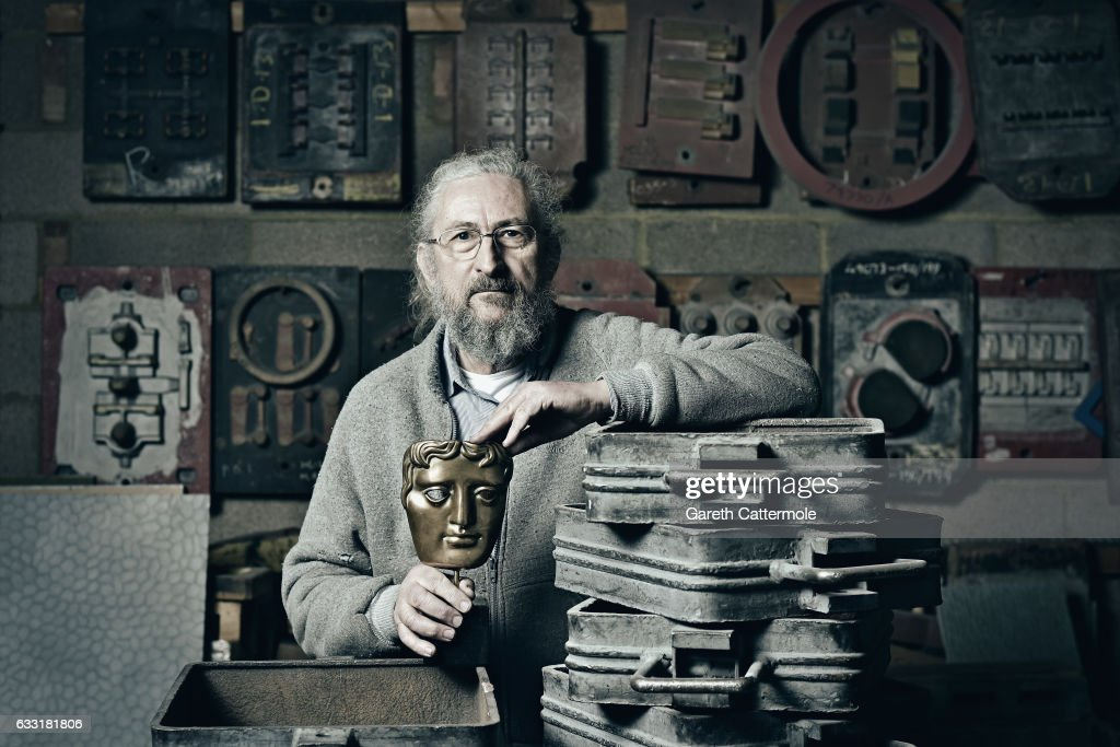 A portrait of New Pro Foundries managing director Patrick Helly during the BAFTA masks casting ahead of the British Academy Film Awards which take place on Sunday February 12 at New Pro Foundries Ltd on January 31, 2017 in London, England.