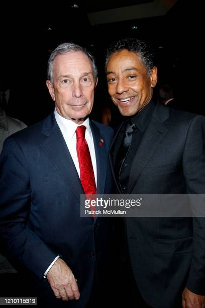 Portrait of New York City Mayor Michael Bloomberg and actor Giancarlo Esposito as they attend an after party following the Tribeca Film Institute's...