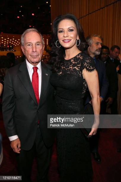 Portrait of New York City Mayor Michael Bloomberg and actress Catherine Zeta-Jones during a cocktail reception during dedication ceremony of the Mica...