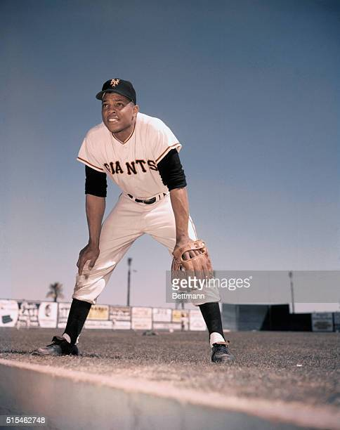 Portrait of New York Giants outfielder Willie Mays.
