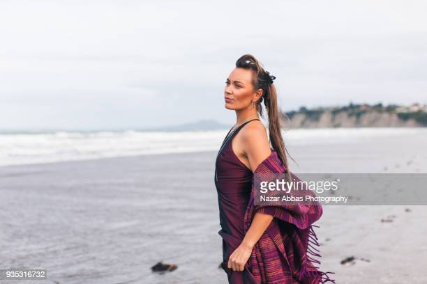 Portrait of New Zealand woman at beach.