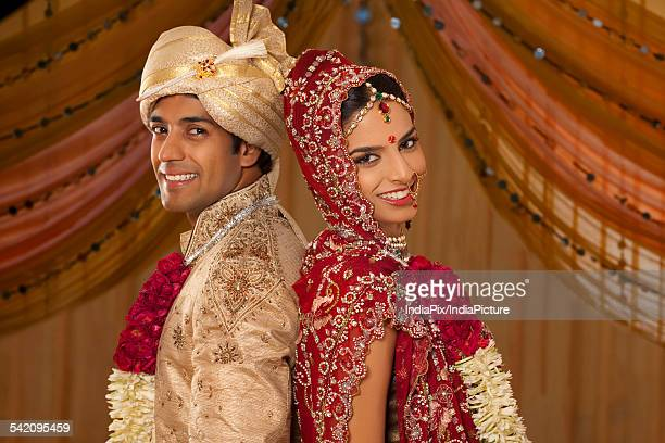 Portrait of newly married Indian couple