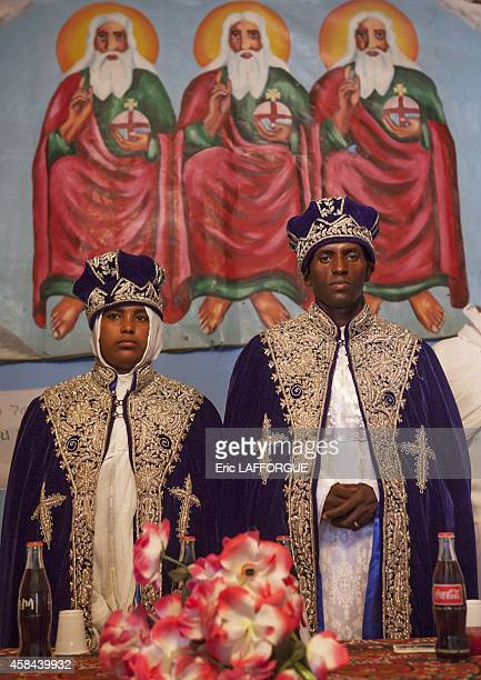 Portrait of newlyweds during an ethiopian wedding in an orthodox church on January 14 2012 in Ziway Ethiopia