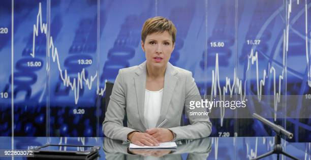 portrait of newsreader - newscaster stock pictures, royalty-free photos & images