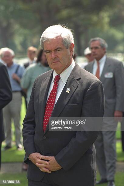 Portrait of Newt Gingrich in a military cemetery