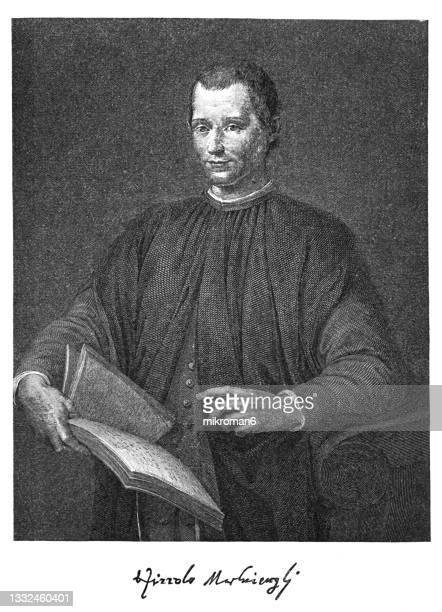 portrait of niccolò di bernardo dei machiavelli, italian diplomat, philosopher, politician, historian and writer - diplomacy stock pictures, royalty-free photos & images