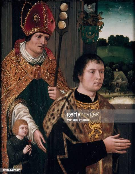 Portrait of Nicholas Gaze and His Son and St Nicholas, 1525. Artist Unknown.