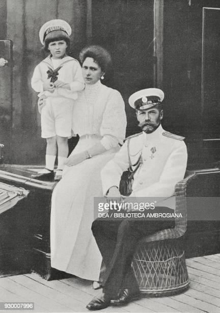 Portrait of Nicholas II Romanov with his wife Alexandra Feodorovna Romanova and son Alexei Nikolaevich Romanov from L'Illustrazione Italiana Year...