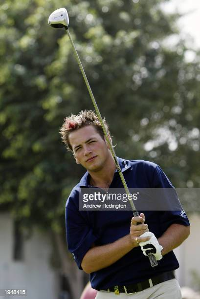 Portrait of Nick Dougherty of England taken during practice for the Dubai Desert Classic held on March 4, 2003 at the Emirates Golf Club, in Dubai,...
