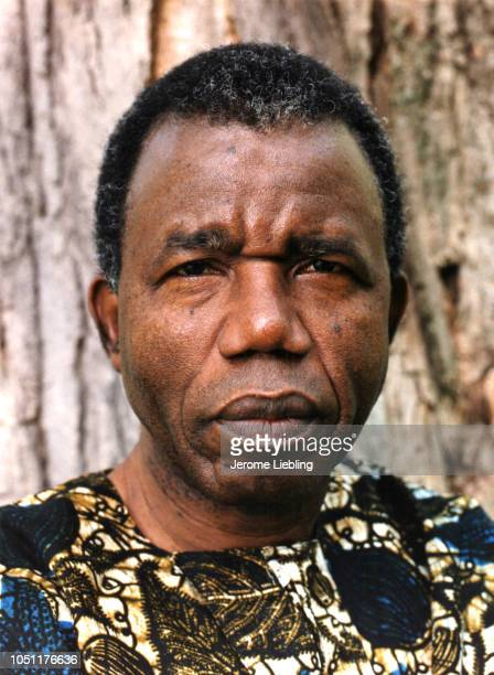 Portrait of Nigerian author professor critic and Igbo chieftain Chinua Achebe dressed in an African dashiki Amherst Massachusetts 1988