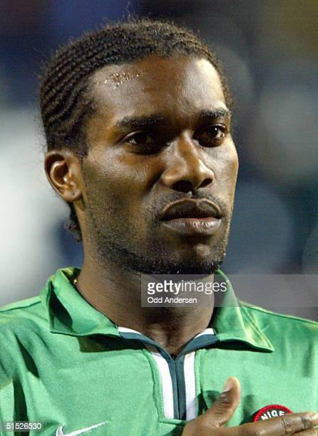 "Portrait of Nigerian national soccer team midfielder Augustin ""Jay-Jay"" Okocha, taken 26 March 2002 at Loftus Road stadium in London before the start..."