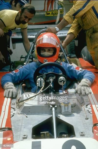 Portrait of Niki Lauda of Austria in his Scuderia Ferrari before the British Grand Prix at the Brands Hatch circuit in England Lauda finished in...